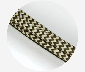 "Textile cable ""Beige-green zigzag"""