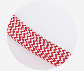 "Textile cable ""Red-white zigzag"""