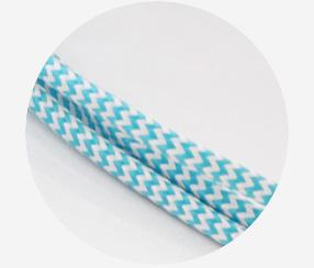 """Textile cable """"Blue zig-zag"""""""