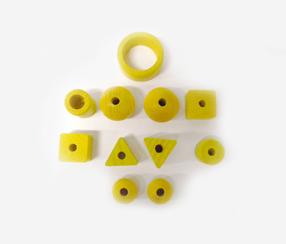 Puidust juhtme-pärlid, kollane