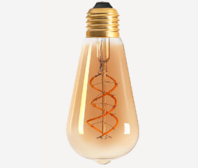 Amber cover curved LED filament lightbulb, 300lm