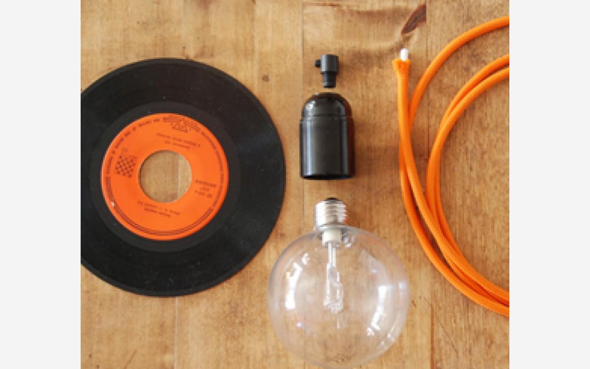 DIY vinyl record lamp