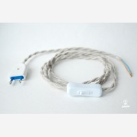Twisted cord set with inline switch, light linen