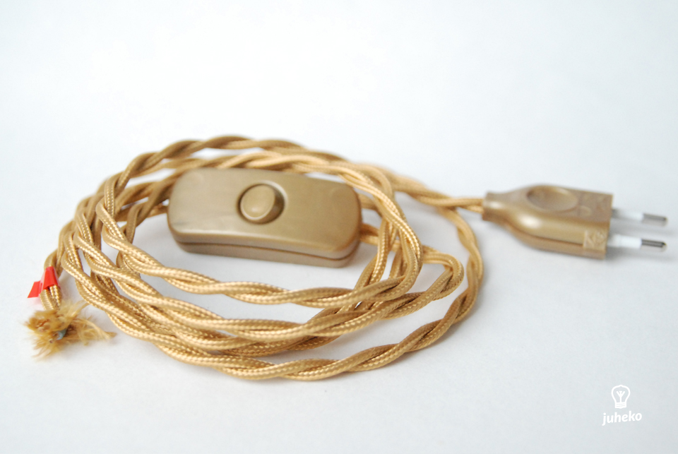 Twisted cord set with inline switch and plug, golden