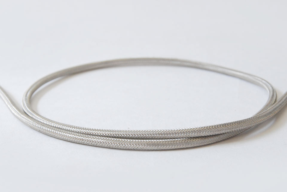 Textile Cable - Silver, metal yarn