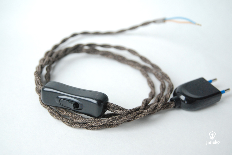 Twisted cord set with inline switch, cotton brown