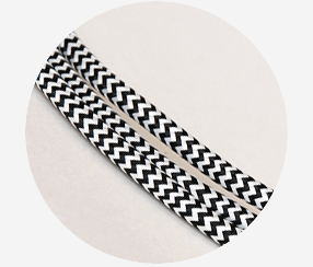 Textile Cable - Black- white zigzag
