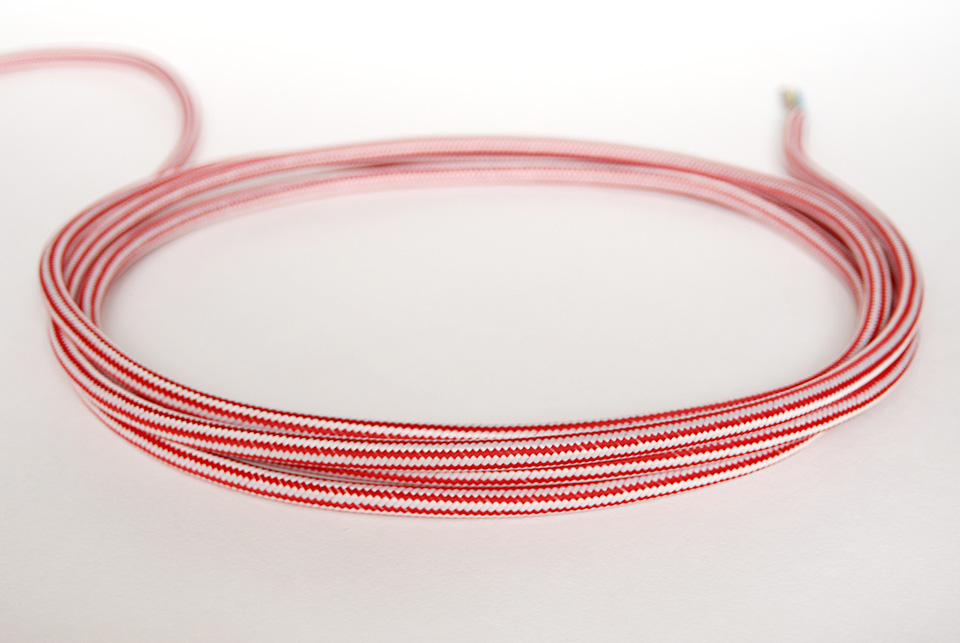 "Textile cable ""Red stripes"" 3x1,5mm2"