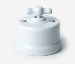Wall switch, white porcelain, normal button