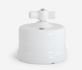 Wall switch, white porcelain, normal button Sat