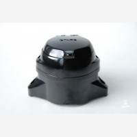 Wall socket with cover, bacelite, black