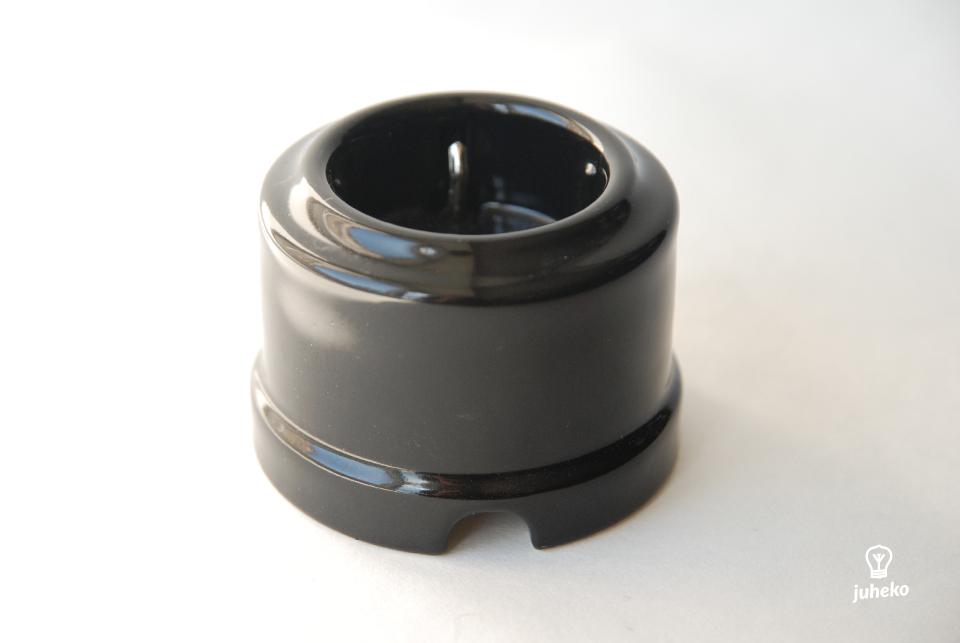 Wall socket Sat, porcelain,  black