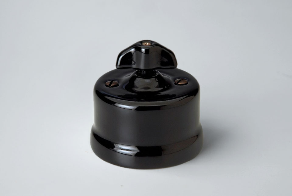 One way wall switch Fontini, black porcelain