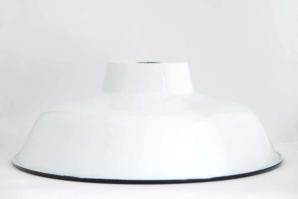 Enamel Lampshade TLN, white with black rim