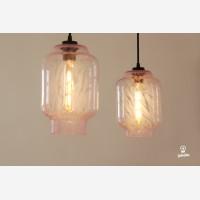 Handmade glass pendant light Kaju, Pink