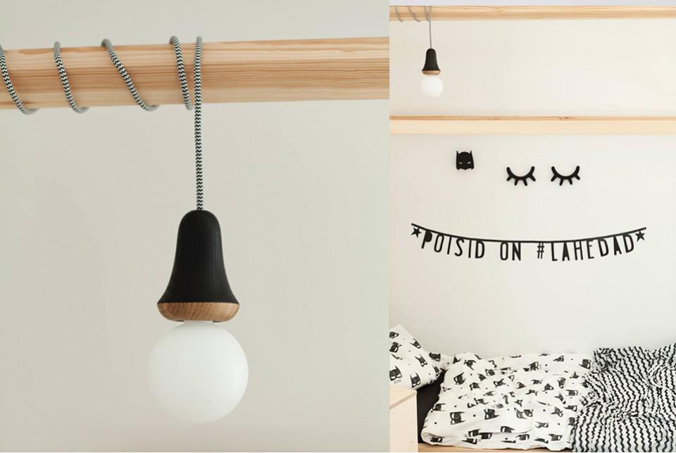 Wooden lamp Black Muki, oak