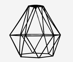Dimanta formas abažūrs, melns