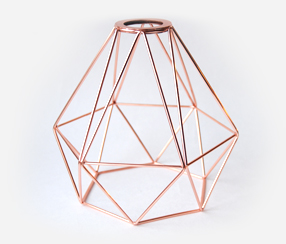 Diamond bulb cage, copper color