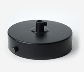 Ceiling rose with one hole, black, d 100mm