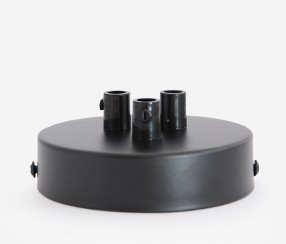 Ceiling rose with three holes, black, d 100mm