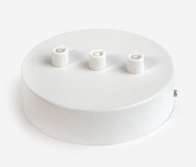 Ceiling rose with three holes in a row, white