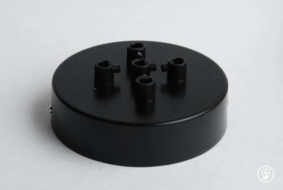 Ceiling rose with five holes, black - Made in Estonia
