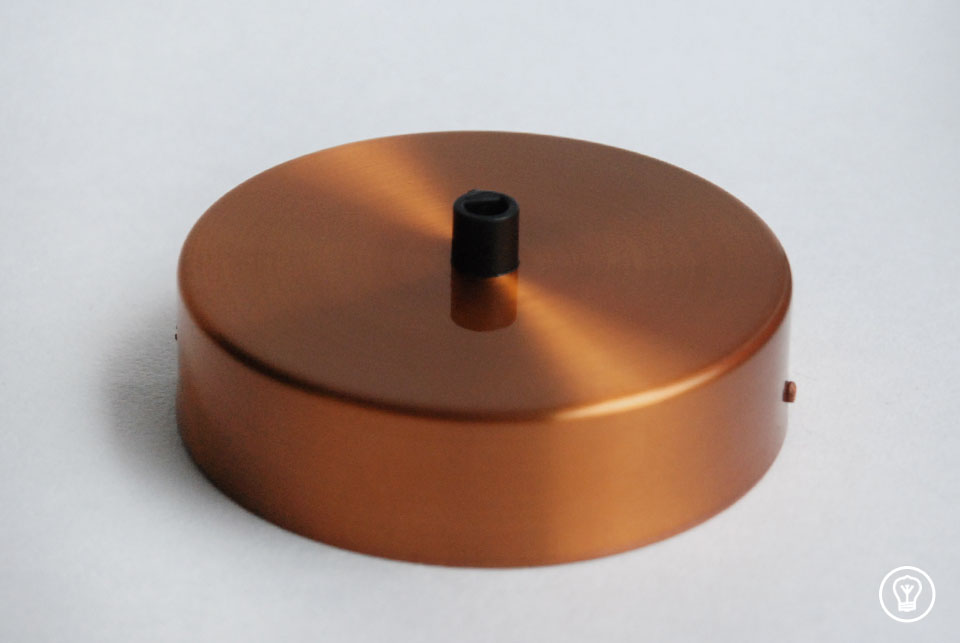 Copper ceiling rose with one hole