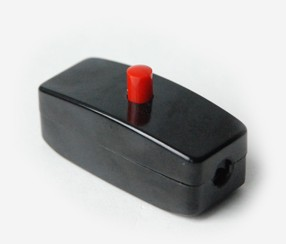 Bakelite inline switch, earthed, red button