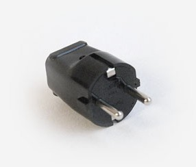 Plug earthed (Euro), black