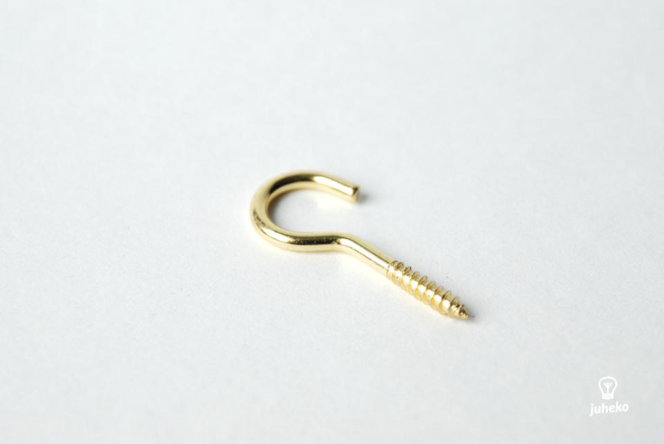 Screw hook, brass