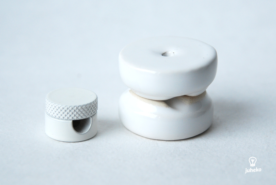 Cable wall fixing ceramic, white