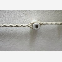 Wall fixing for twisted cables, white