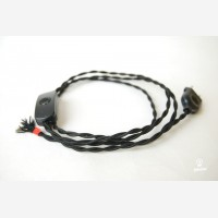 Twisted cord set with inline switch and plug, black