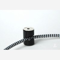Cable wall fixing, porcelain, black