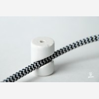 Cable wall fixing, porcelain, white