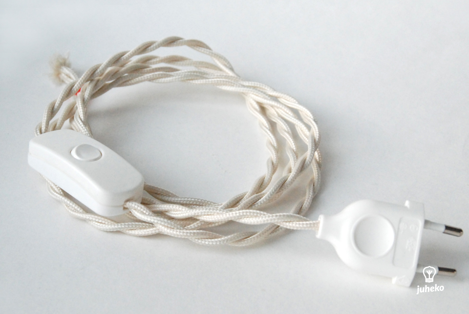 Twisted cord set with inline switch, ivory
