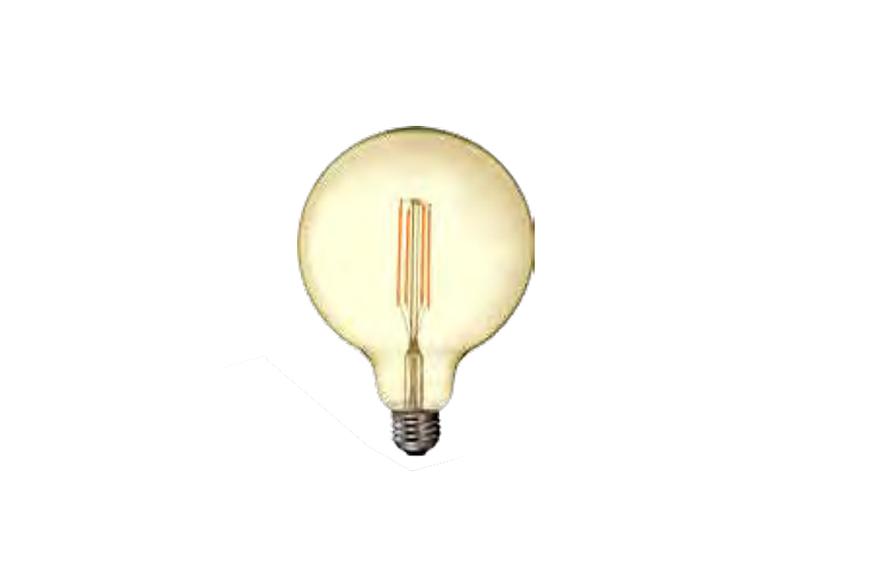 Amber cover  LED filamentglobe  lightbulb 125mm, 1250lm