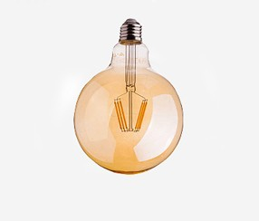 Amber cover  LED filamentglobe  lightbulb 95mm, 725lm