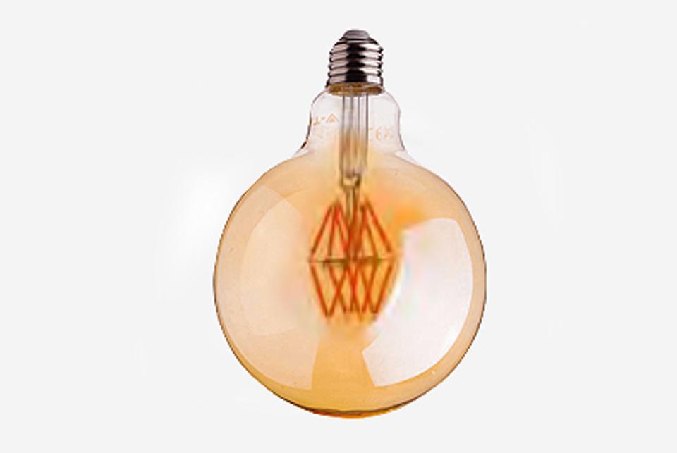 Amber cover  LED filamentglobe  lightbulb 95mm, 600lm