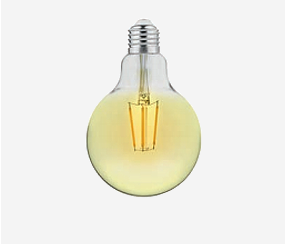 Gintarinės dangos LED siūlo lemputė 95mm, 400lm