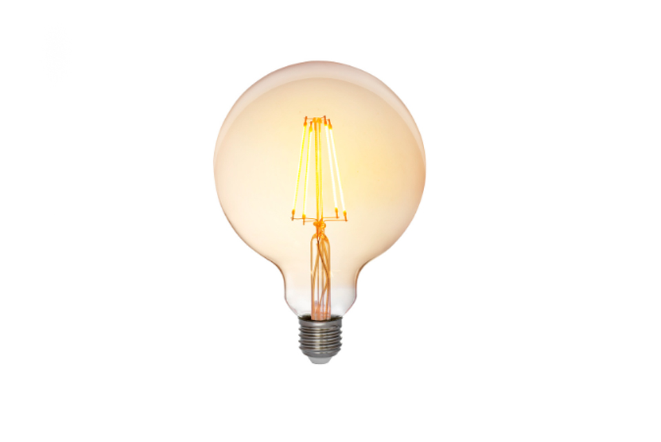 Amber cover  LED filamentglobe  lightbulb 125mm, 725lm