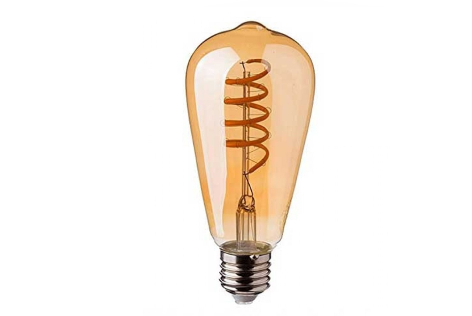 Amber cover curved LED filament lightbulb, 320lm