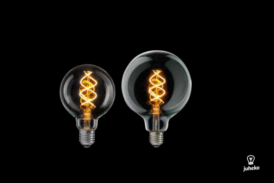 Curved LED filamentglobe  lightbulb 125mm, 300lm