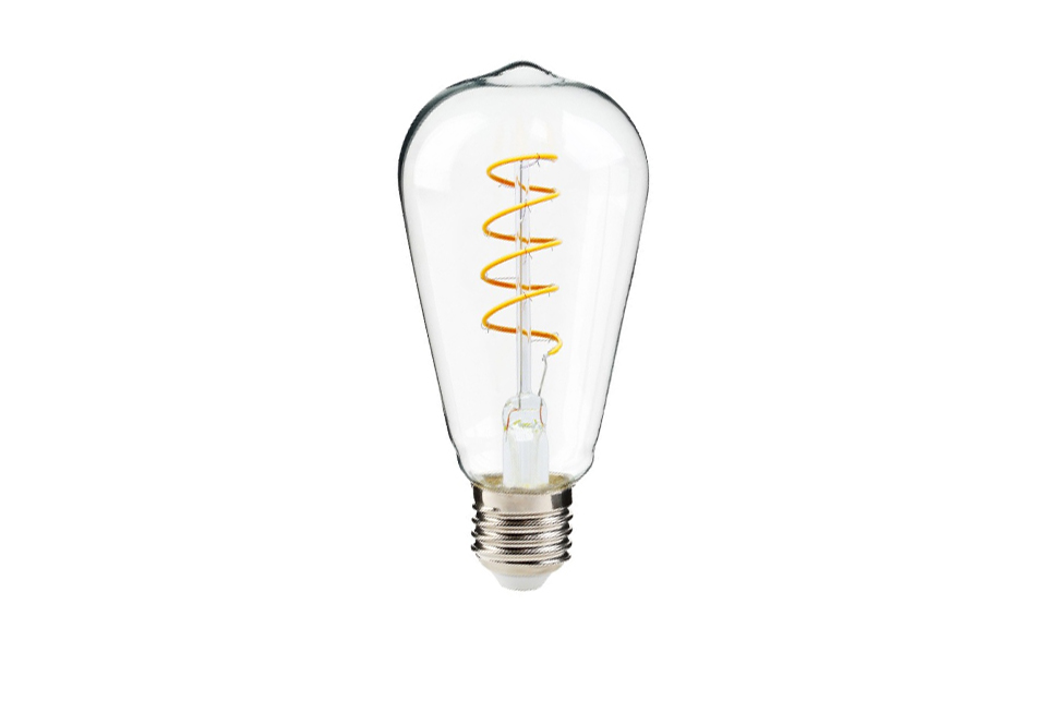 Curved LED filament lightbulb, 300lm