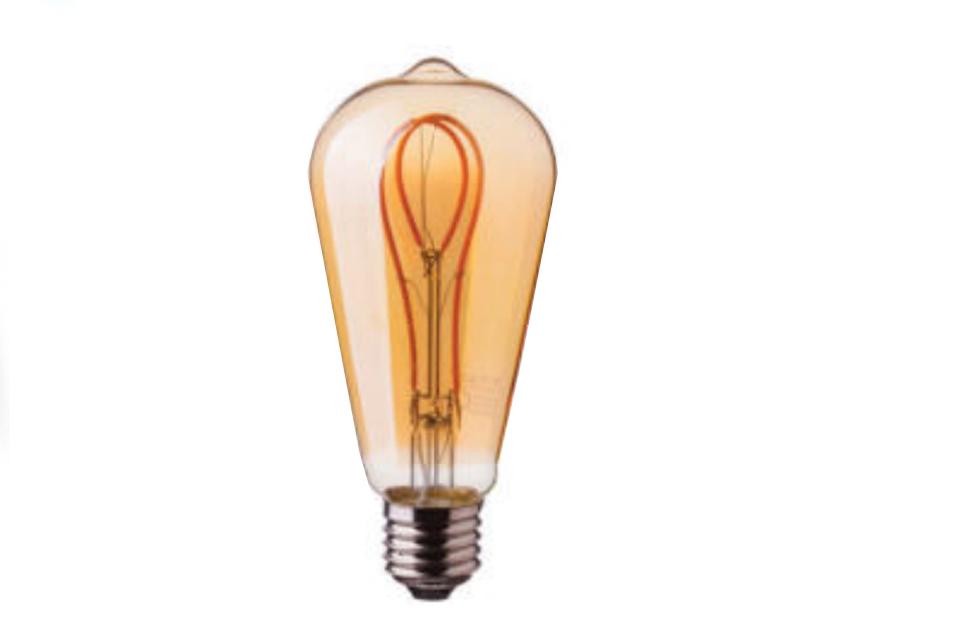 Amber cover loop LED filament  bulb, 300lm