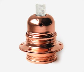 Copper Lampholder with threads and shade rings, earthed