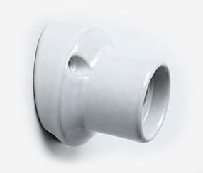 Porcelain bulb holder for wall E27, white