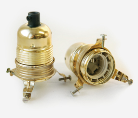 Brass Lampholder with threads and shade ring with screws