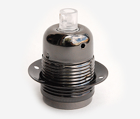 Dark chrome lampholder E27 with two shade rings, earthed