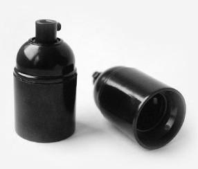 Bakeliittilampunpidin, musta